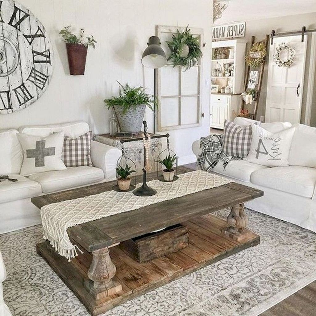 02 cozy farmhouse living room decor ideas  Living room