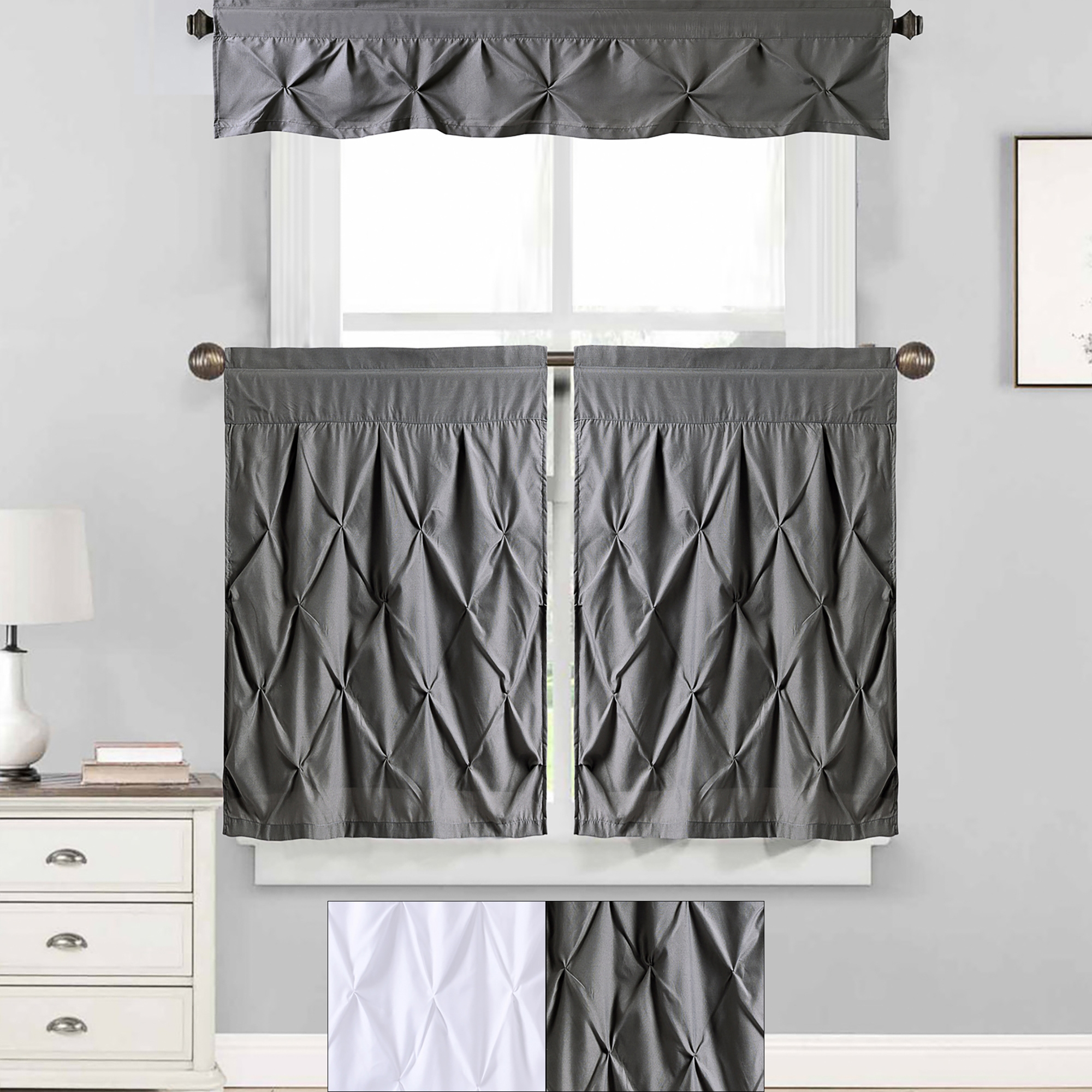 20 Collection of Microfiber 3piece Kitchen Curtain