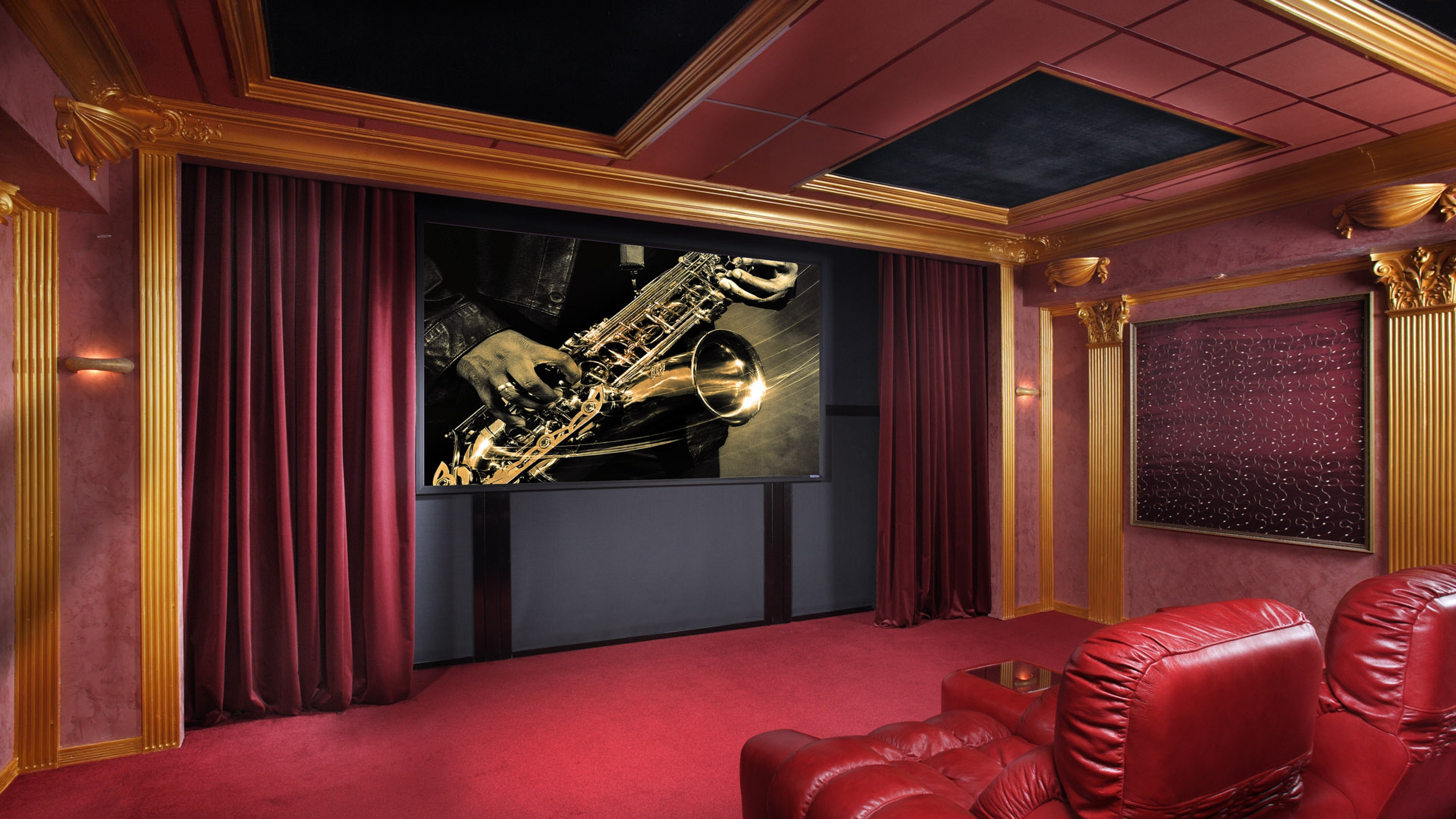 46 Theater Room Wallpaper on WallpaperSafari