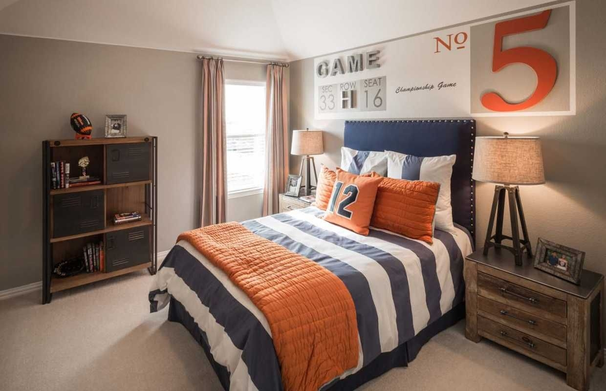 A sportsthemed kids room with an antique vibe