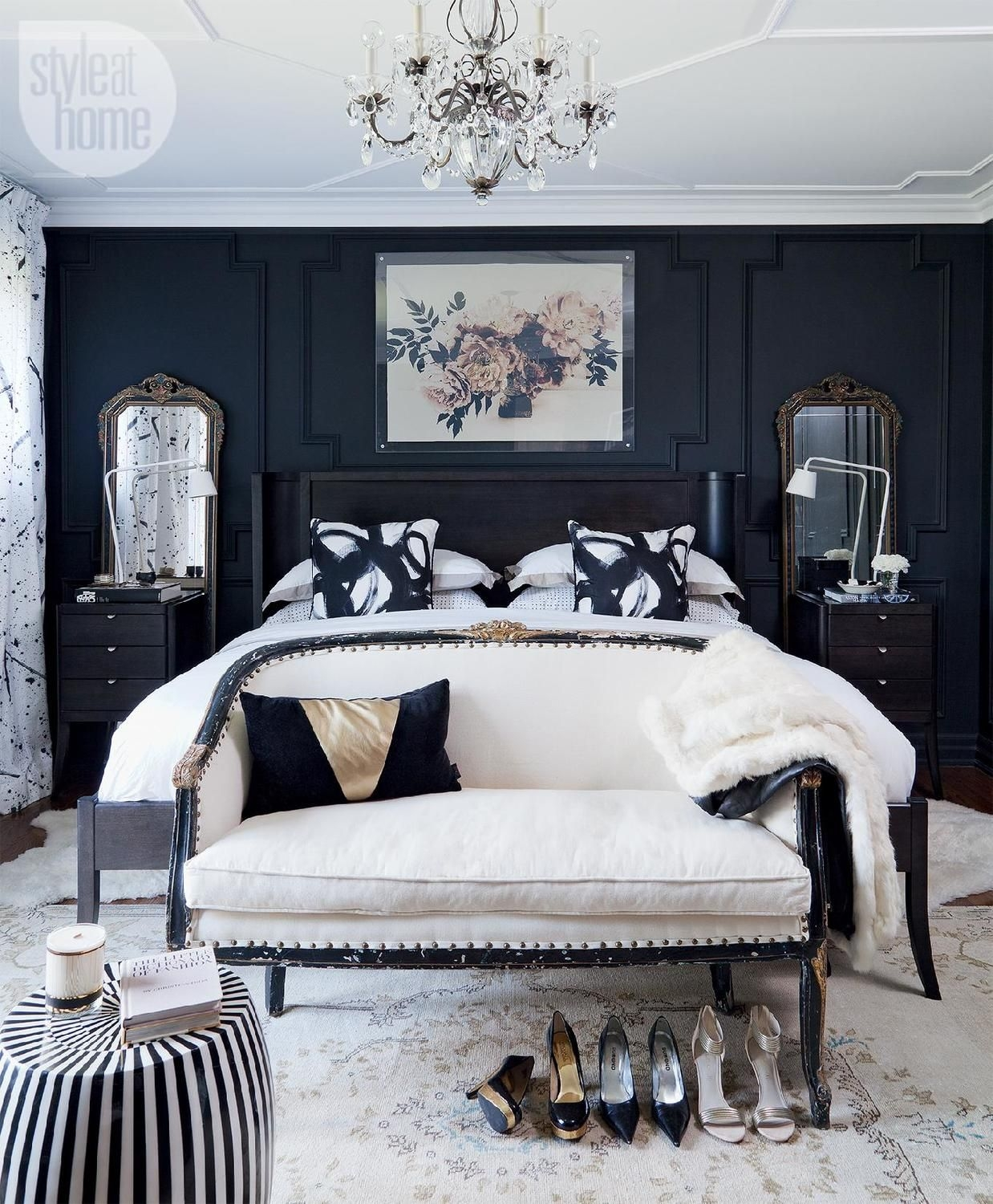 Bedroom decor Moody and dramatic master suite  Feminine