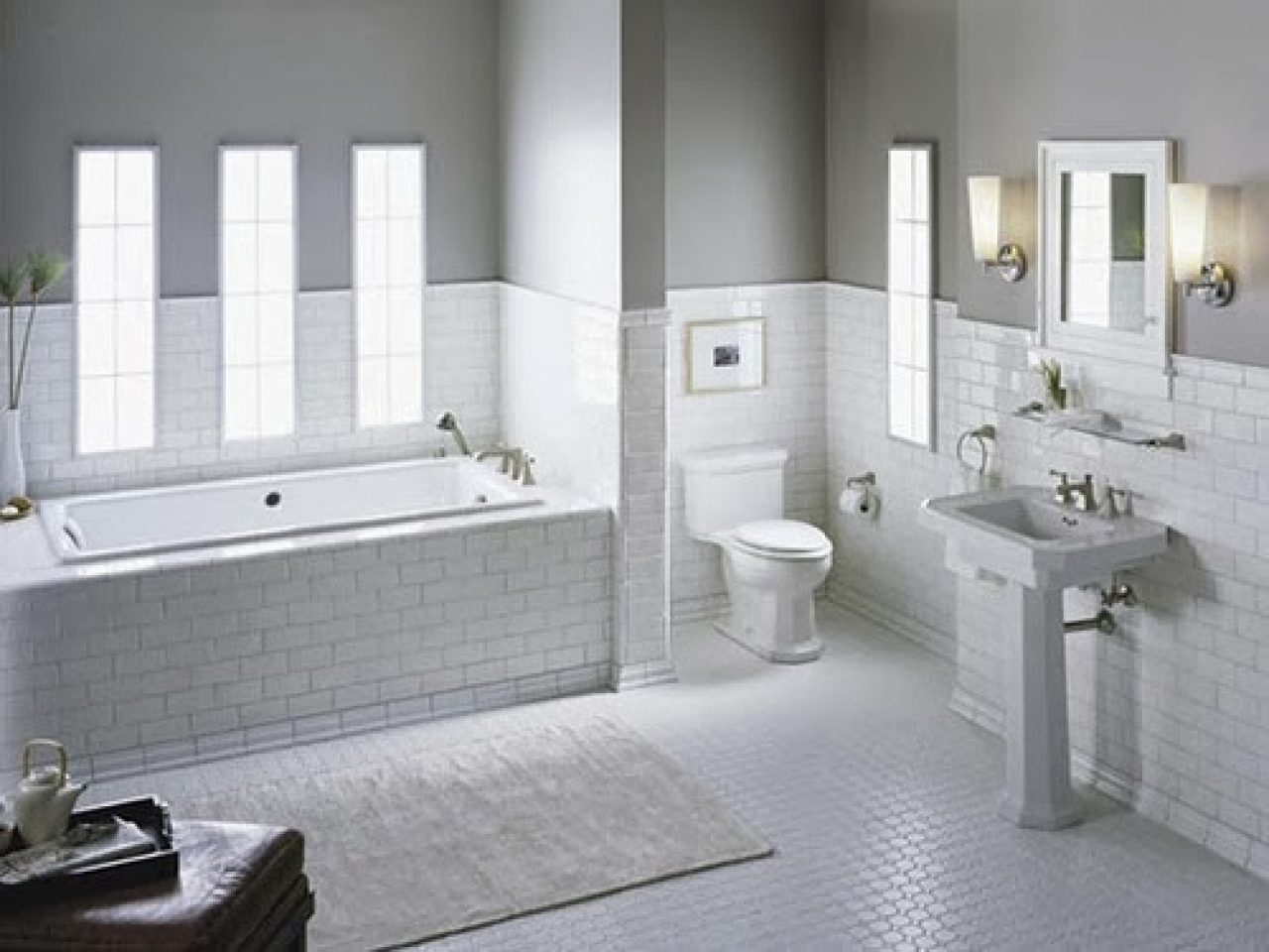 Black and white tile patterns for bathroom white tile