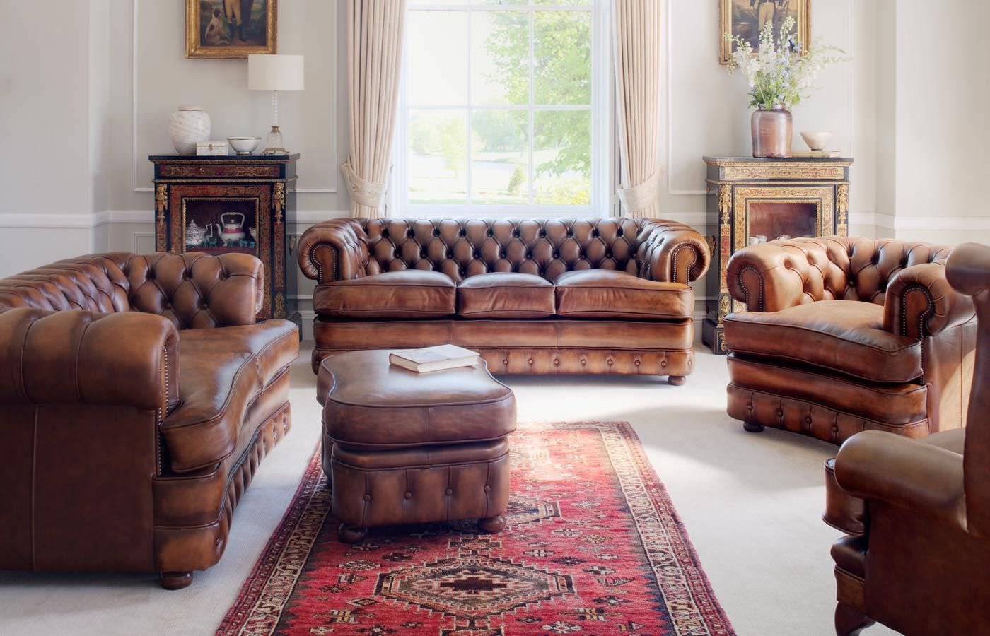 Chesterfield Sofa Set  Rustic living room furniture