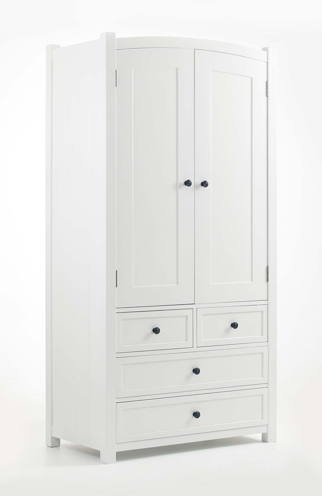 Childrens white painted double wardrobe and chest of