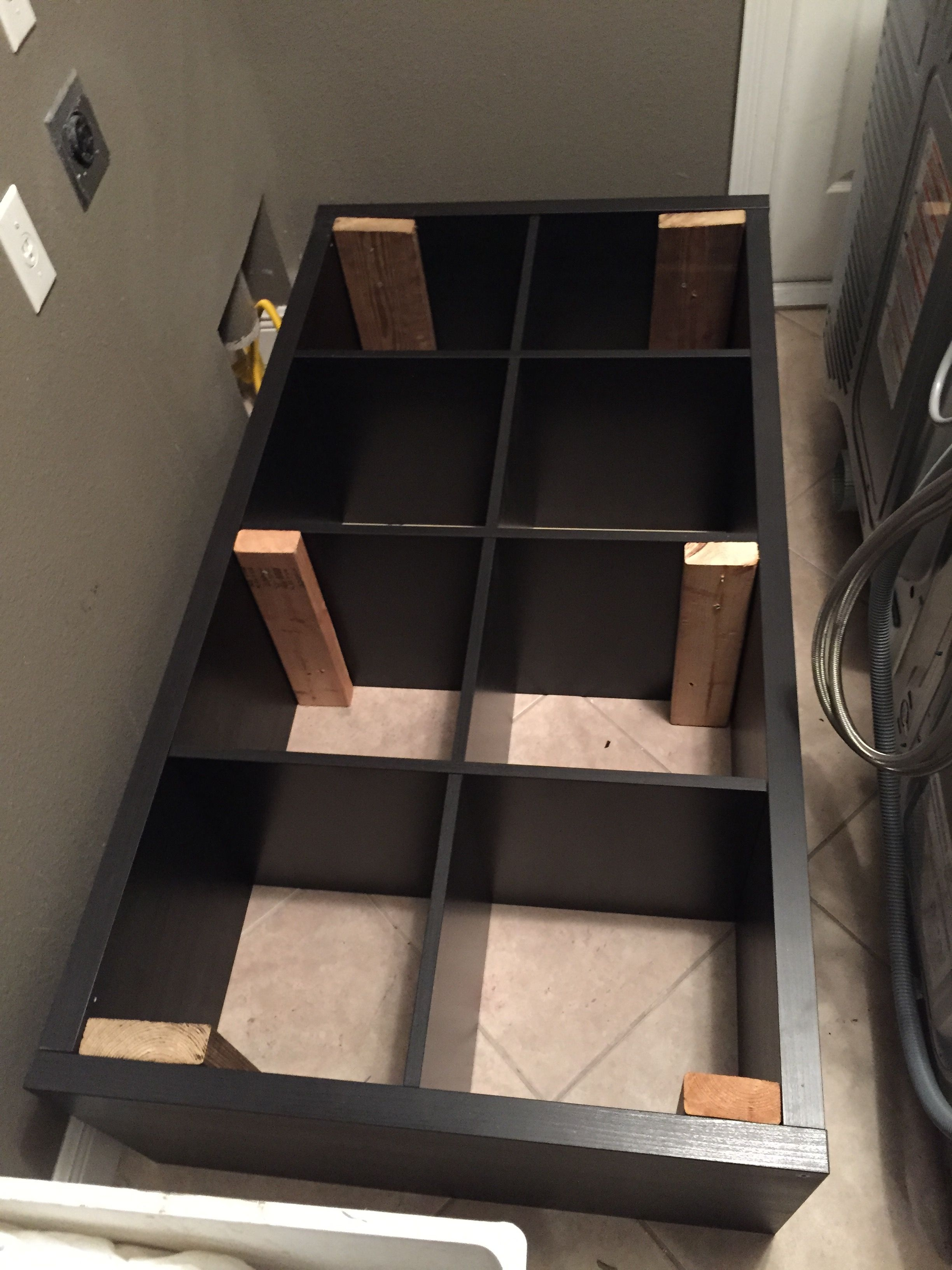 Converting an ikea Kallax book shelf into a washerdryer