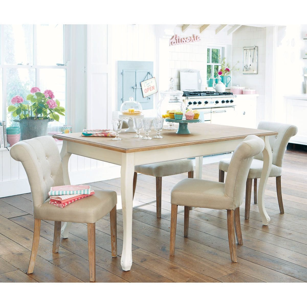 Dining Table in Cream L160 in 2020  Wooden dining tables