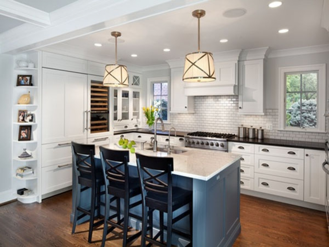 Dining room renovation ideas blue gray white kitchen with