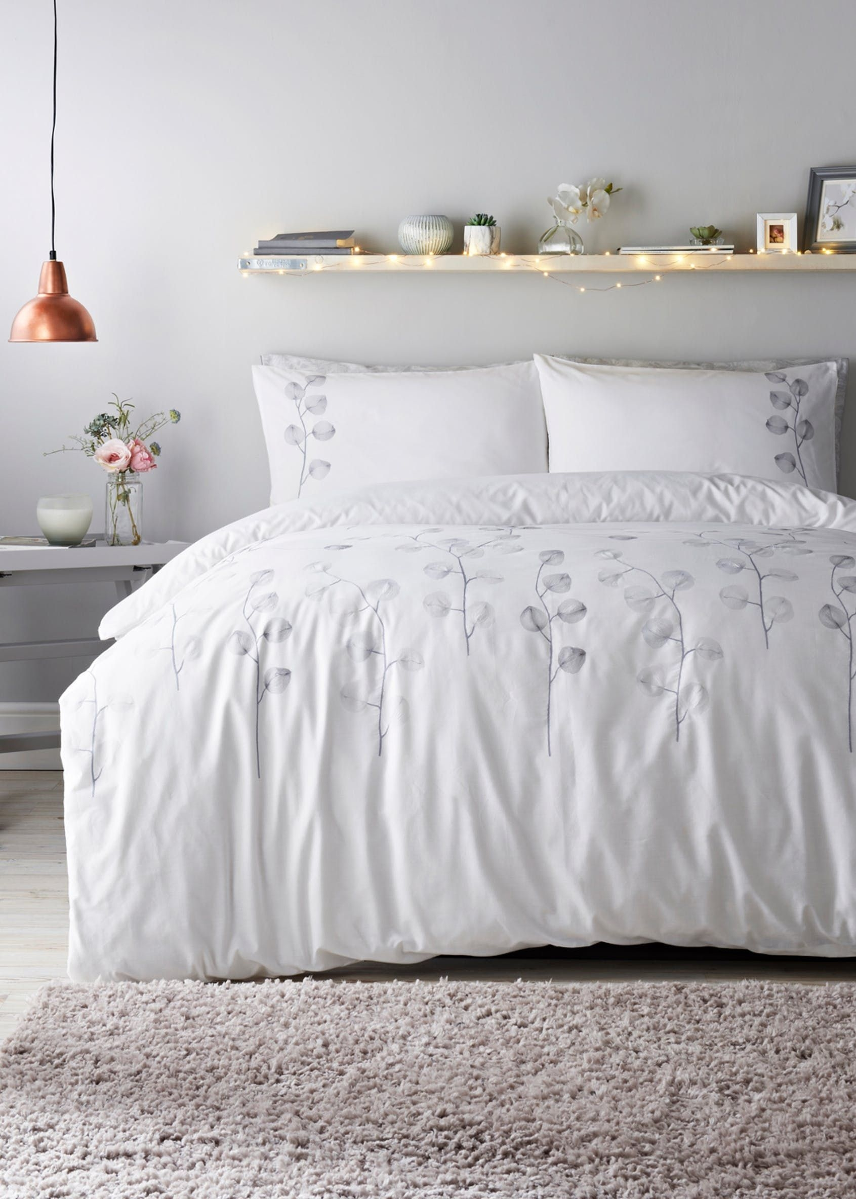 Embroidered Leaf Duvet Cover  White  White duvet covers