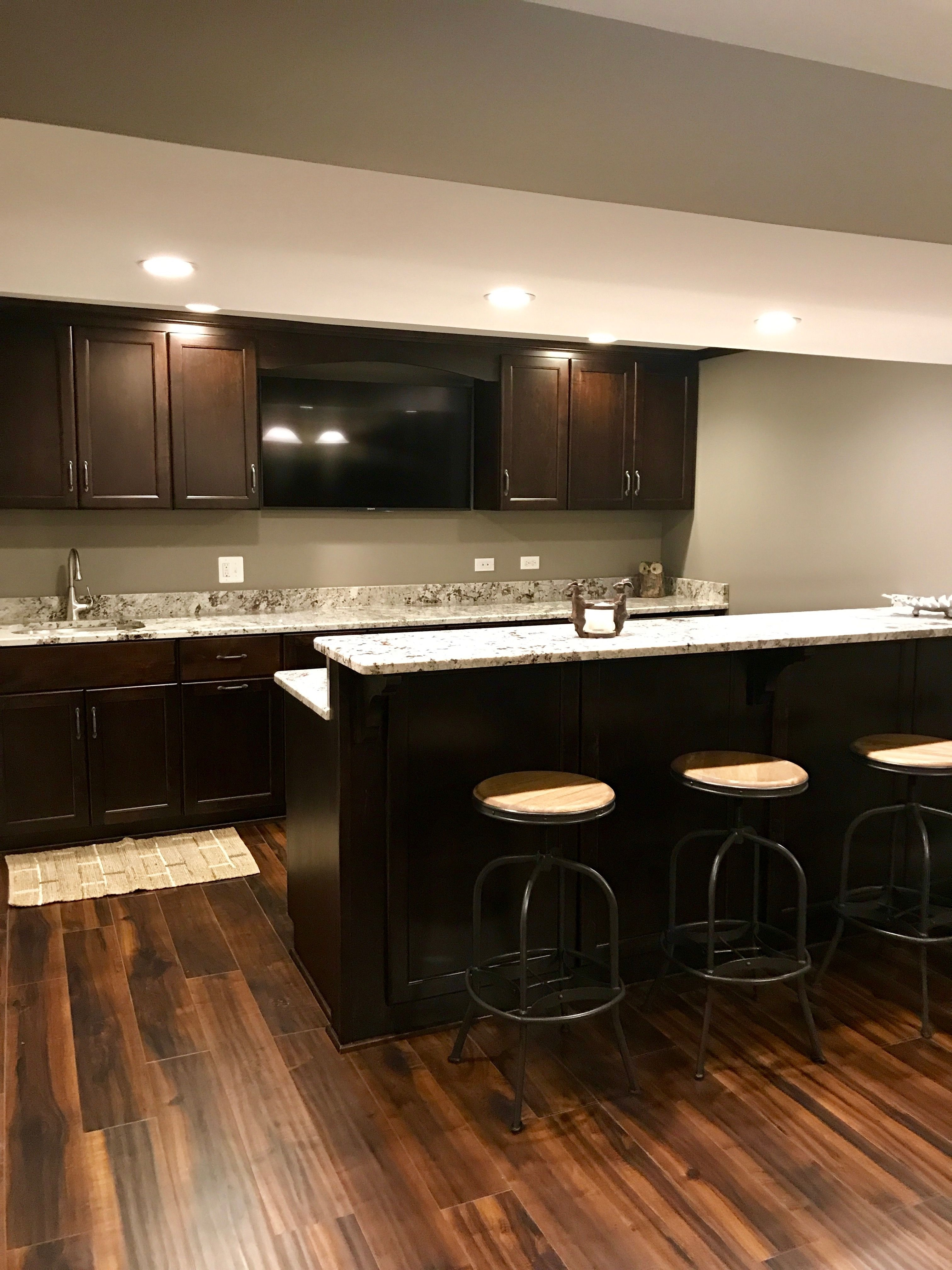 Finished Basement Kitchen Alaskan White Granite and Dark