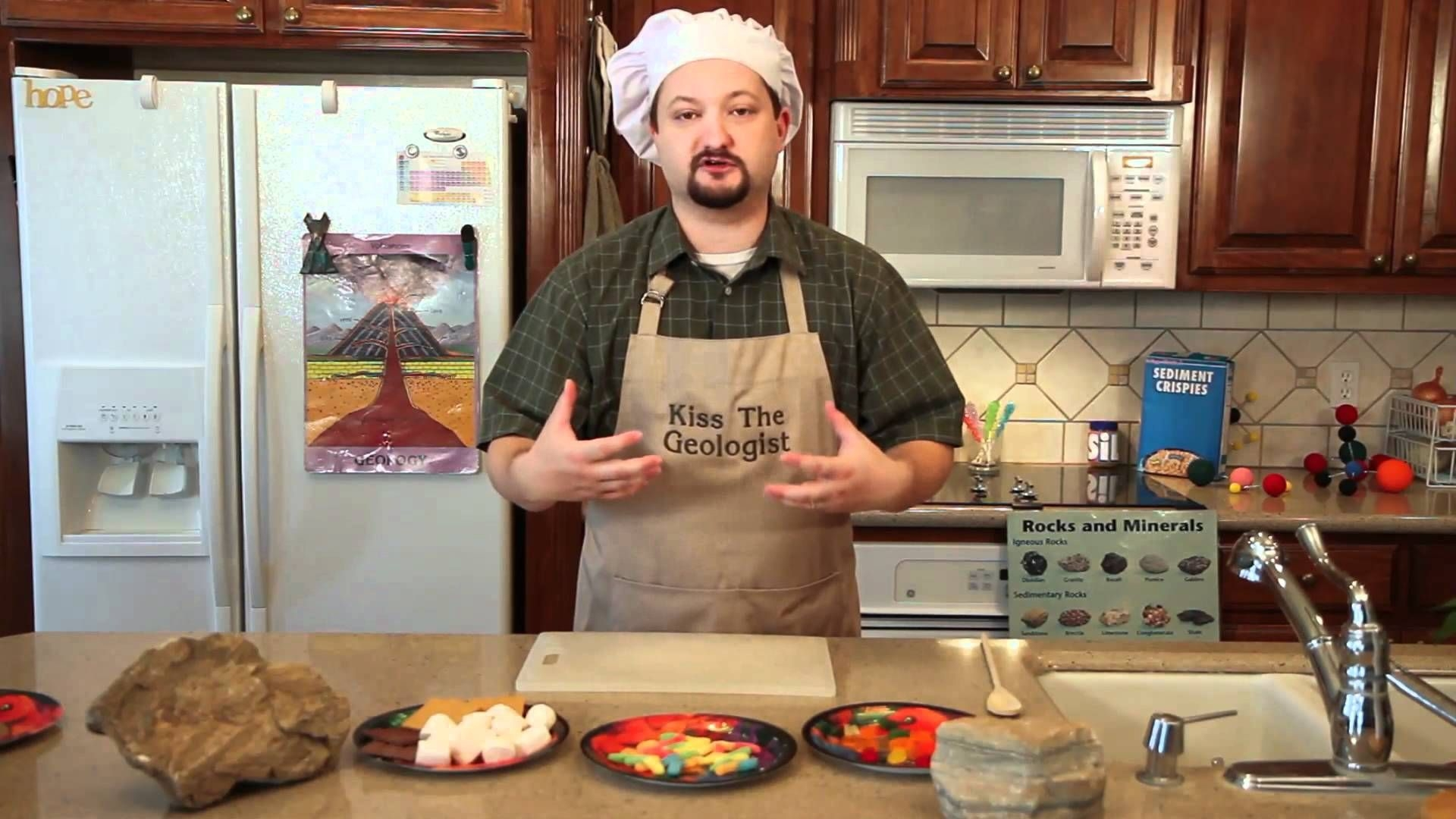 Geologist Devin Dennie heads to the kitchen to demonstrate