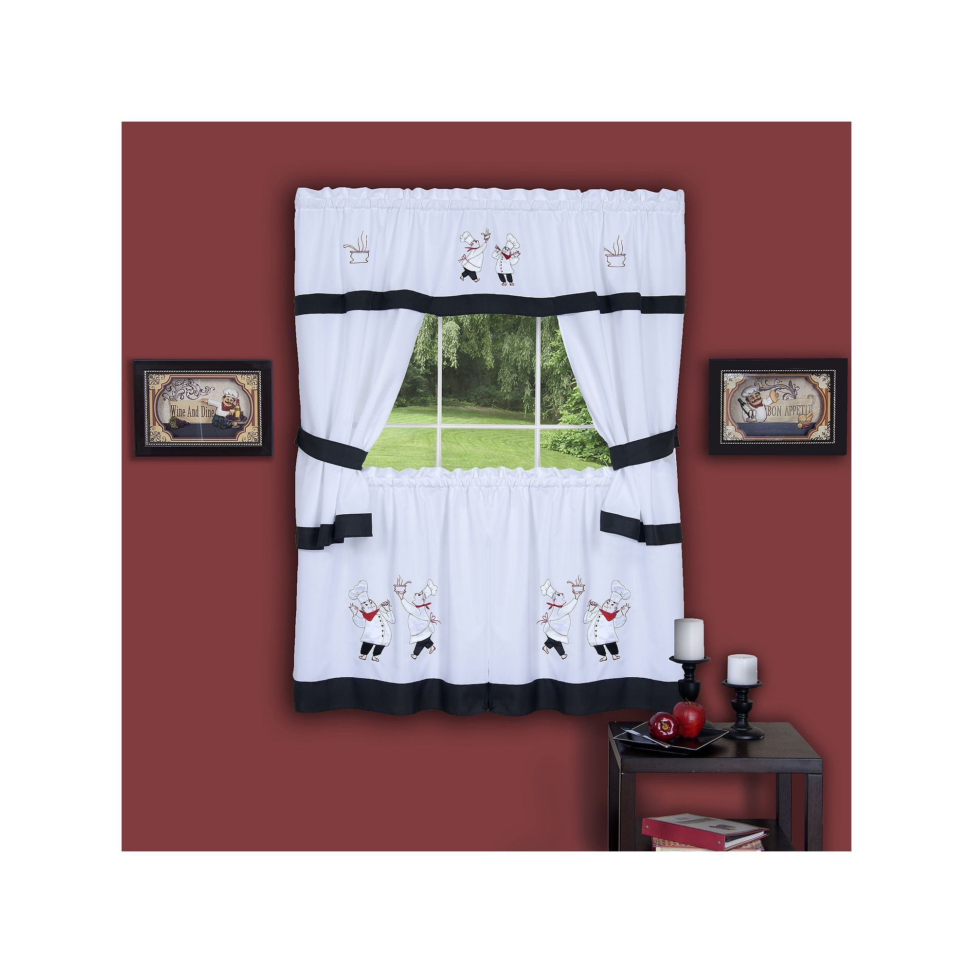 Gourmet Chef 5piece Tier Swag Kitchen Window Curtain Set