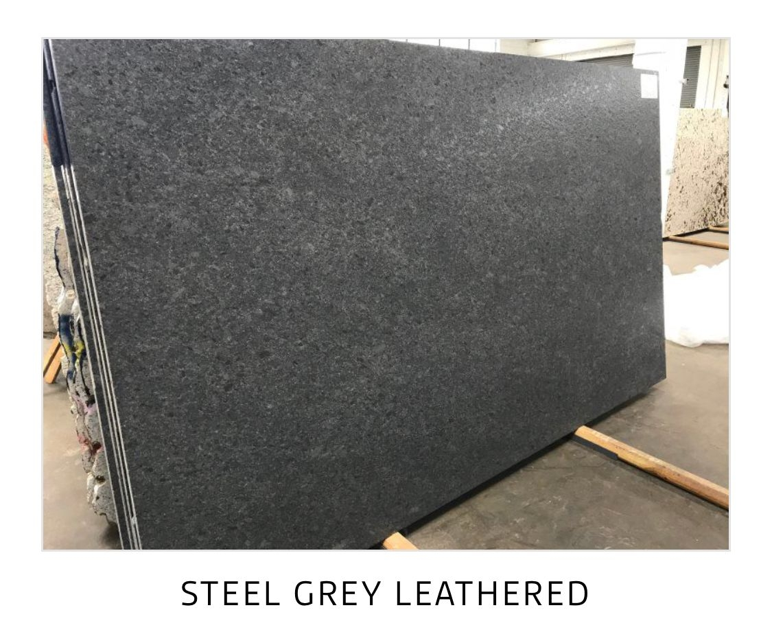 Granite Steel Gray Leathered Kitchen Perimeter  Leather