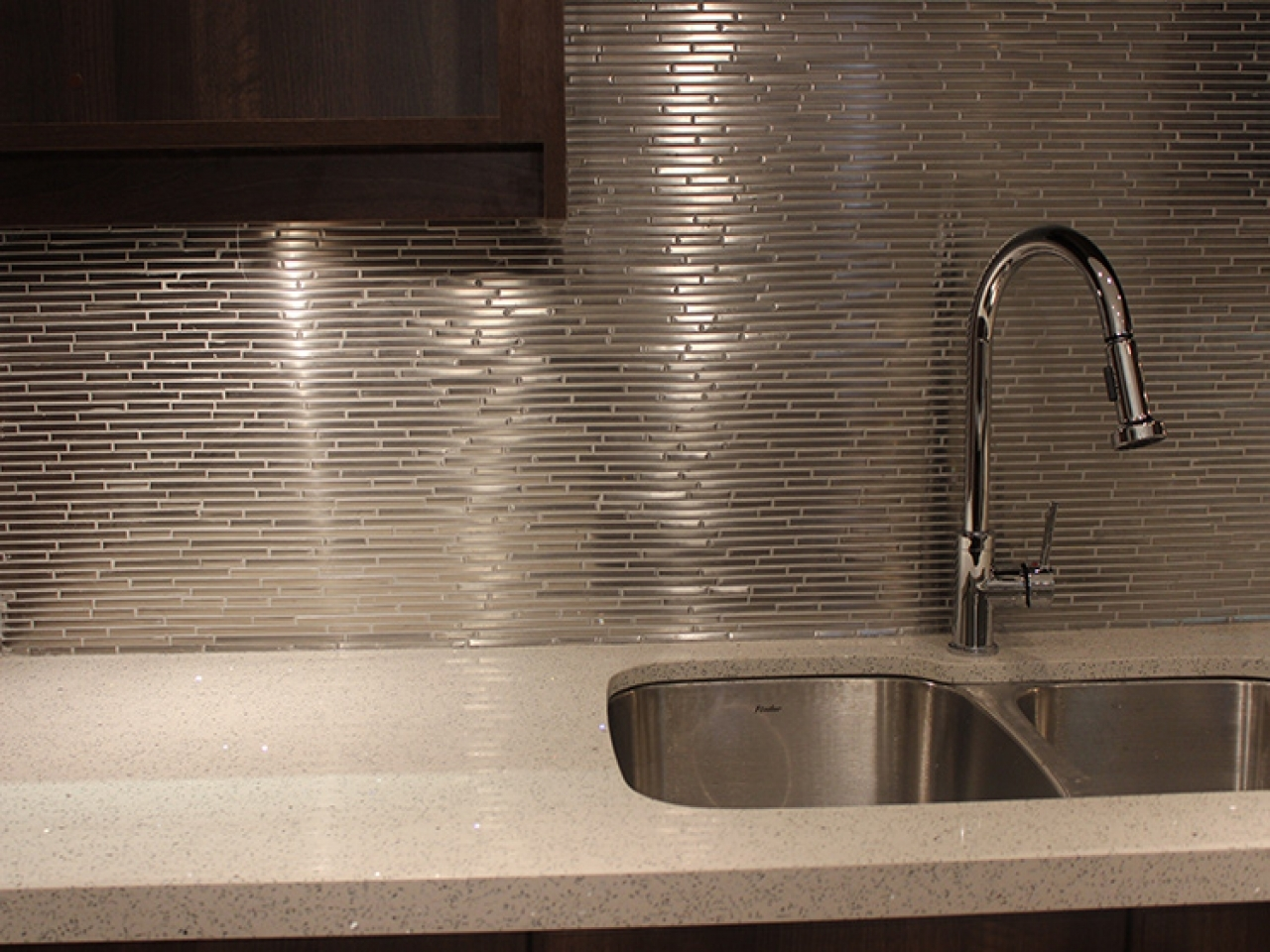 Gray countertop white cabinets brushed nickel tiles for