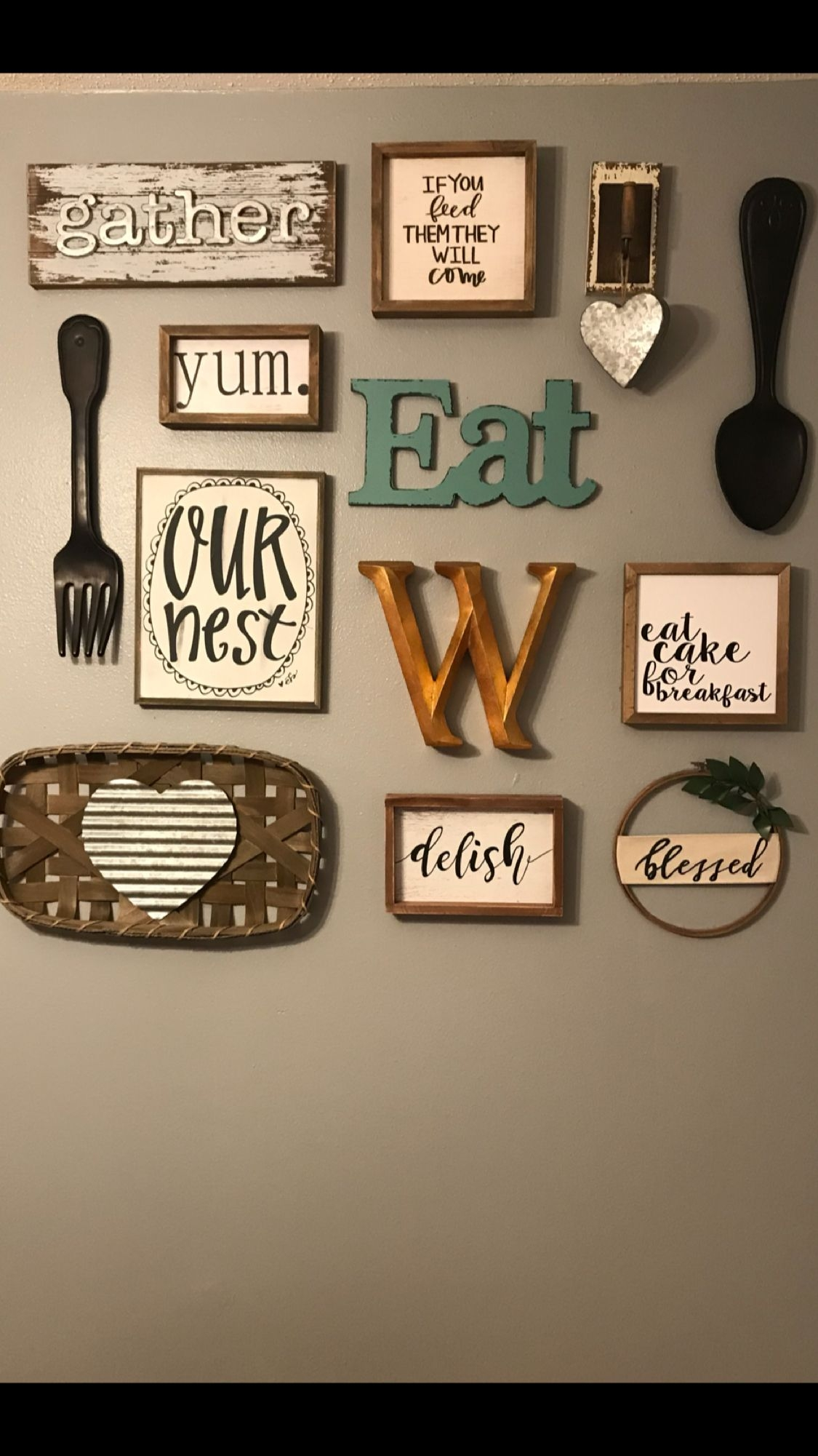 Hobby lobby collage wall  Dining room wall decor Kitchen
