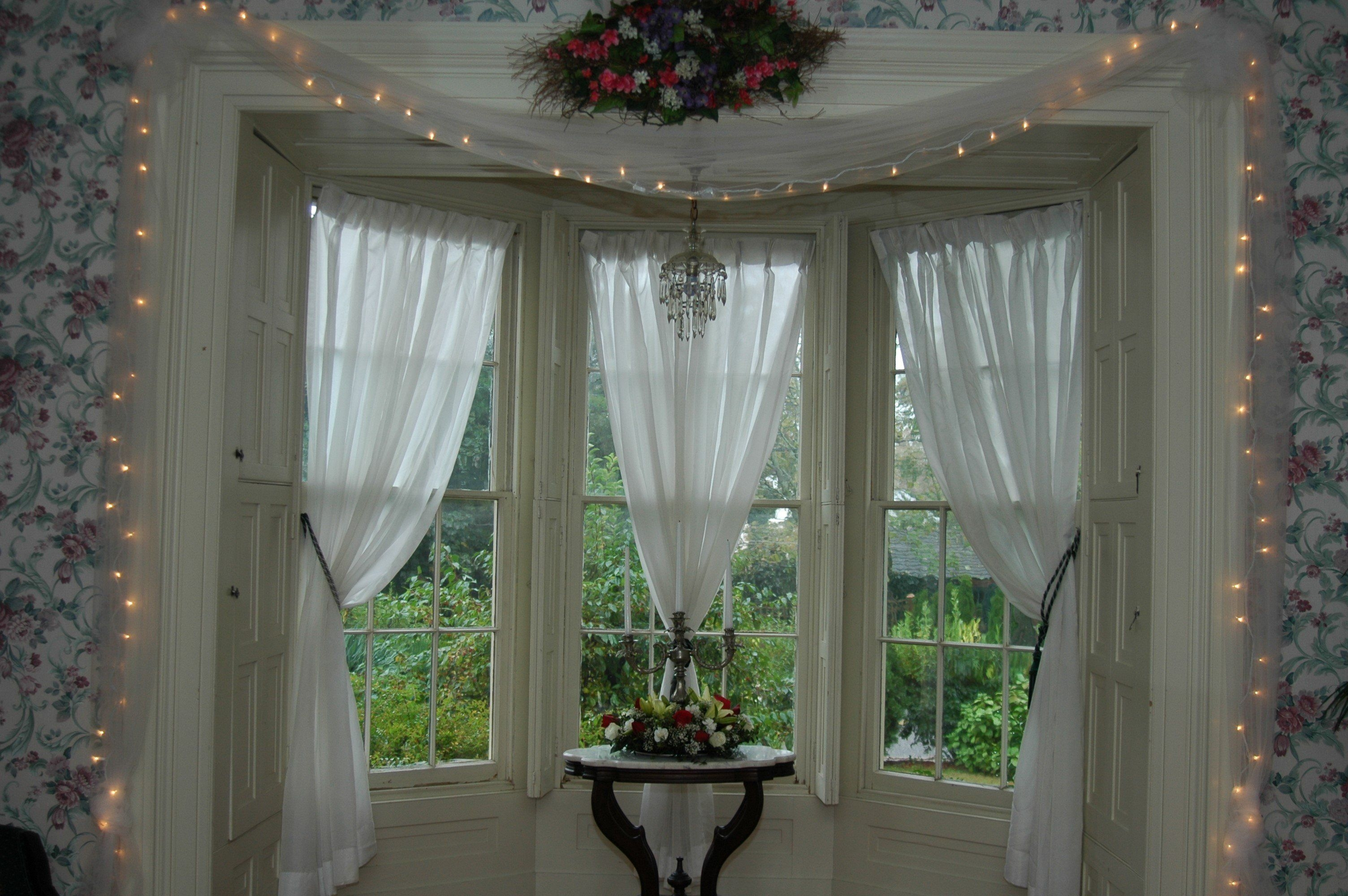Interior triple white sheer Bay Window Curtains with