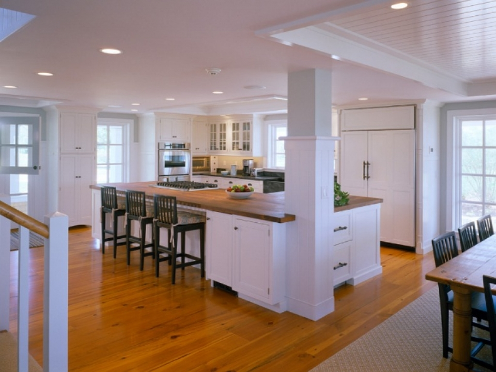 Kitchen floor and counter tops with pine cabinets kitchen