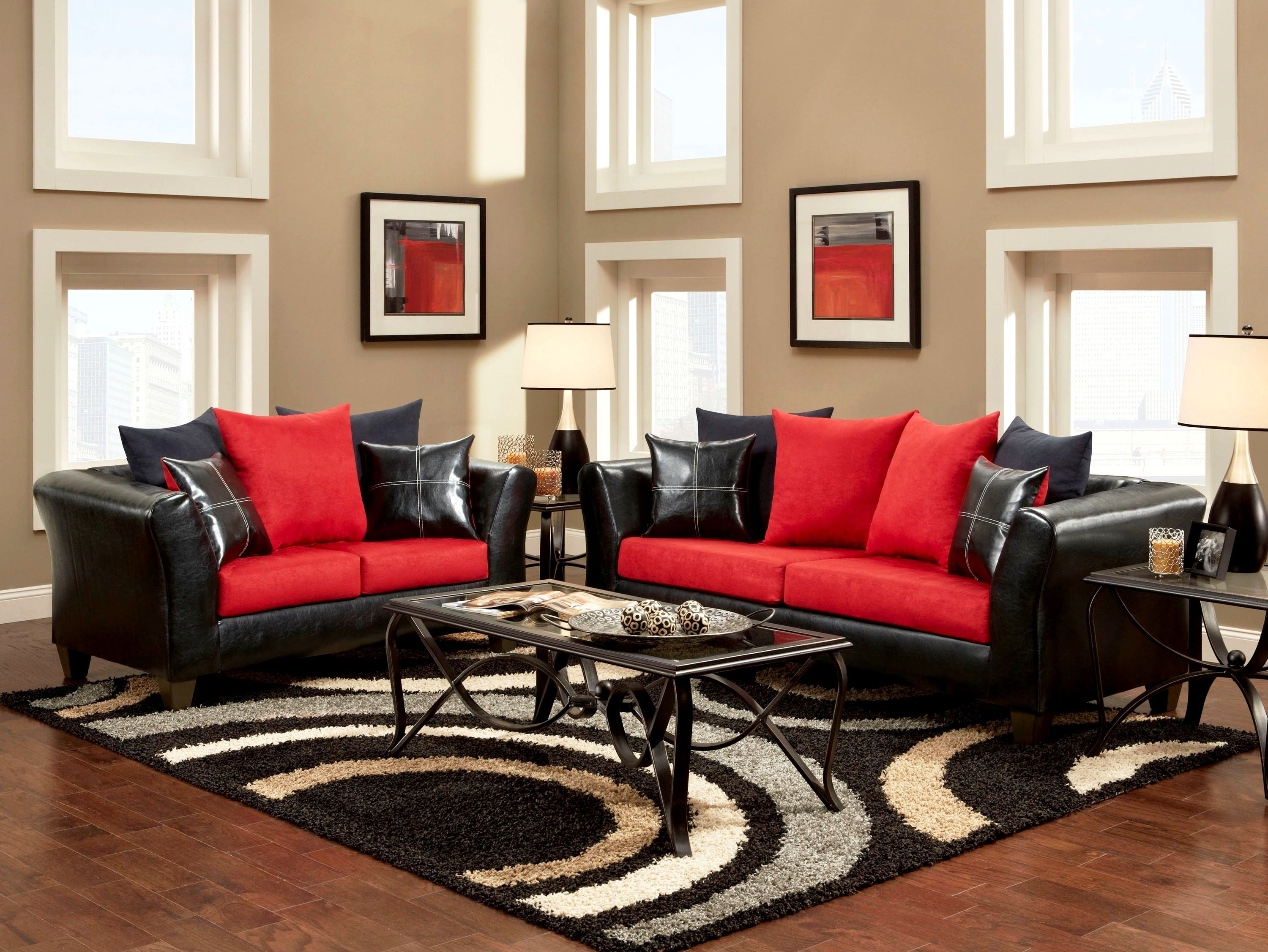 Living RoomComely Black And Red Living Room Pattern Rug