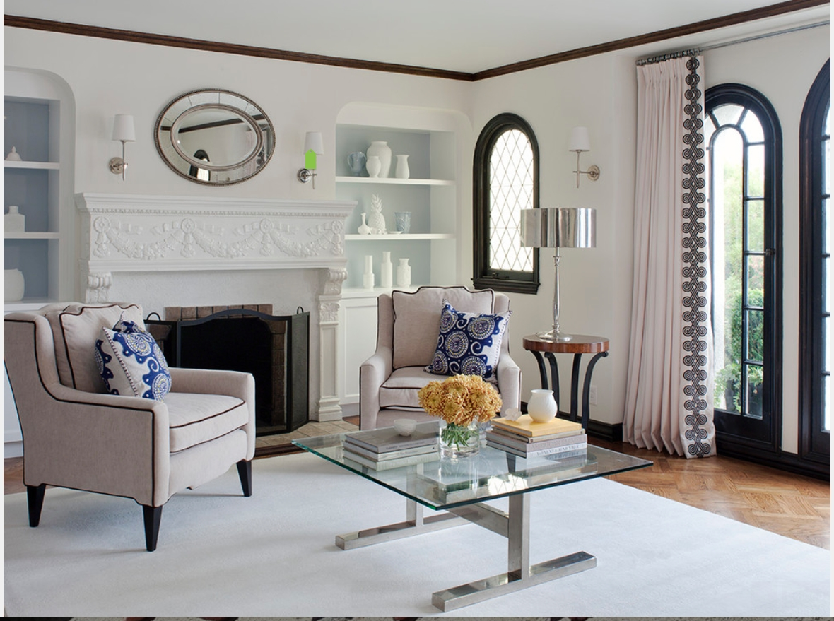 Love the contrasting border  Window treatments living