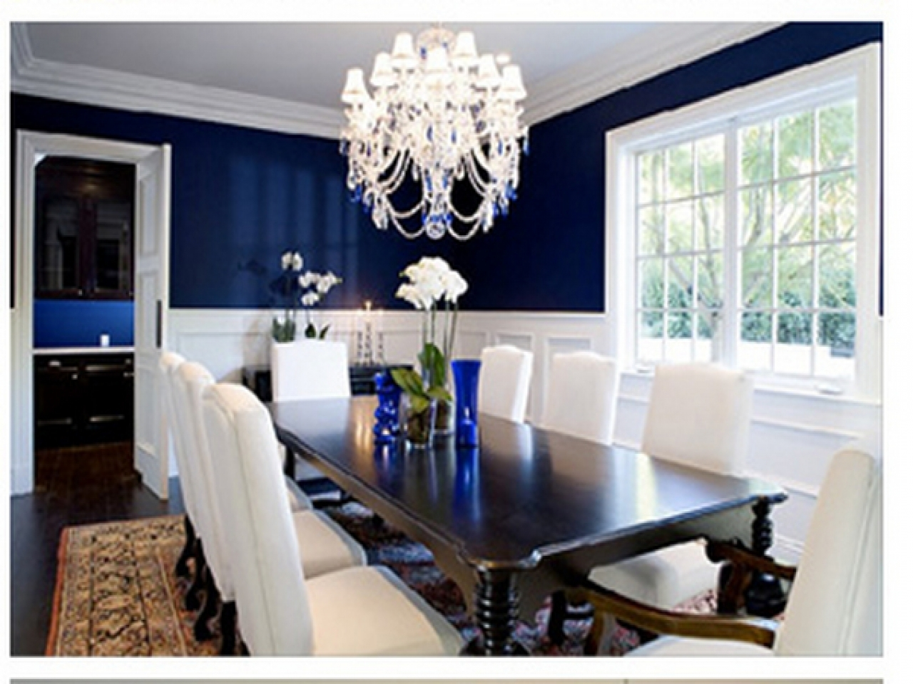 Navy dining room navy blue room with chair rail white and