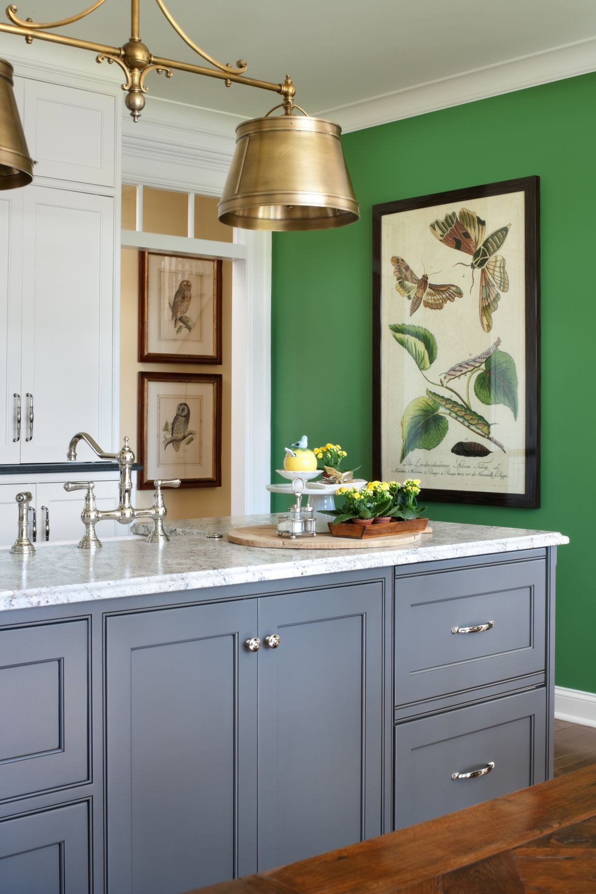 Nell Hills  Green Wall in Kitchen with charcoal grey