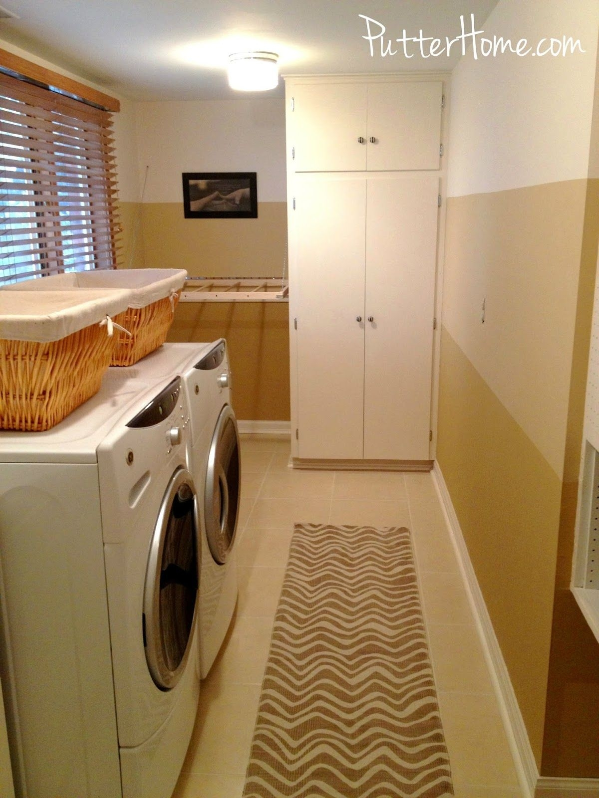 Ombre Striped Wall Laundry Room Makeover  Putter Home