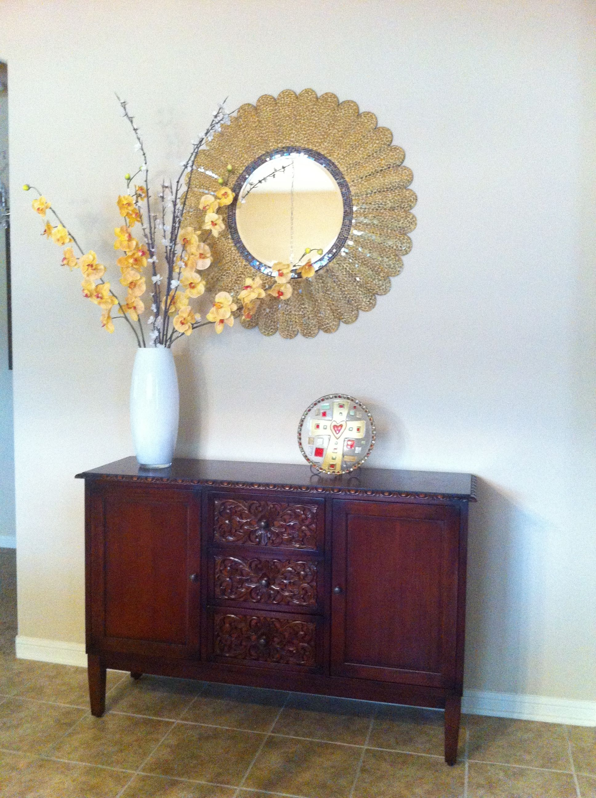 Pier One sideboard arrangement  mirror    Decor