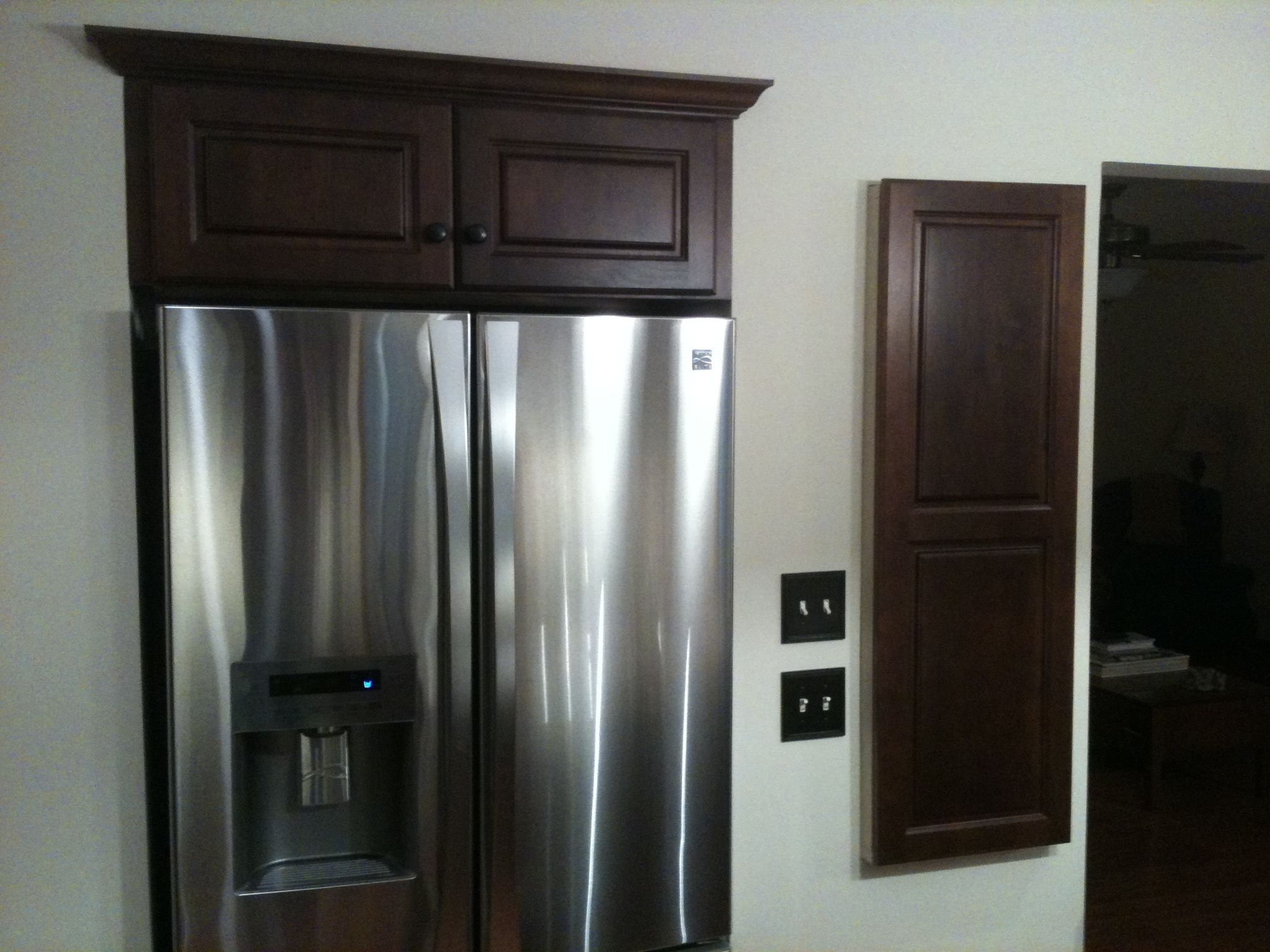 Recessed Fridge wWall Cabinet inset above it  Custom