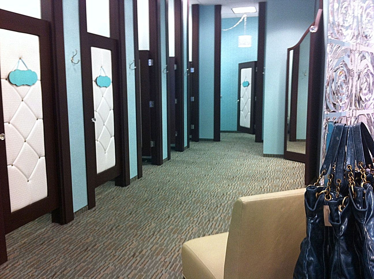 Retail Fitting Room Doors  Look at those upholstered