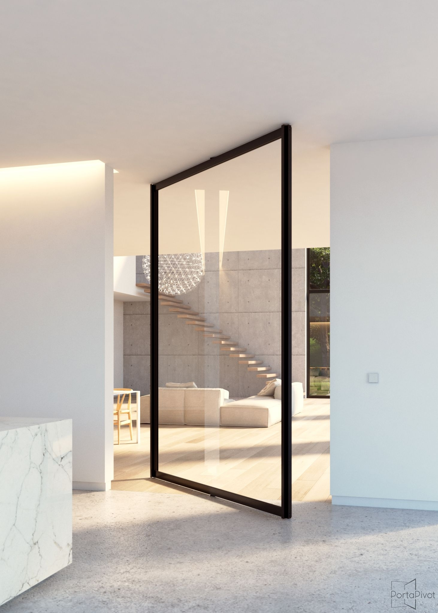 Steel look glass pivot door with central axis pivoting