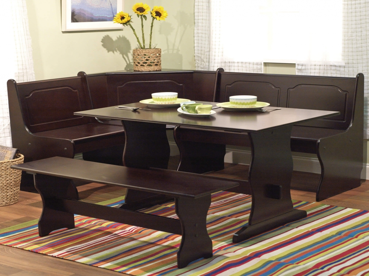 Table with storage bench bench seating country kitchen