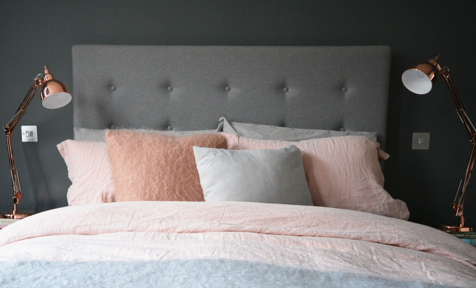 The colour palette  Grey  Copper  Pink  Pink bedroom