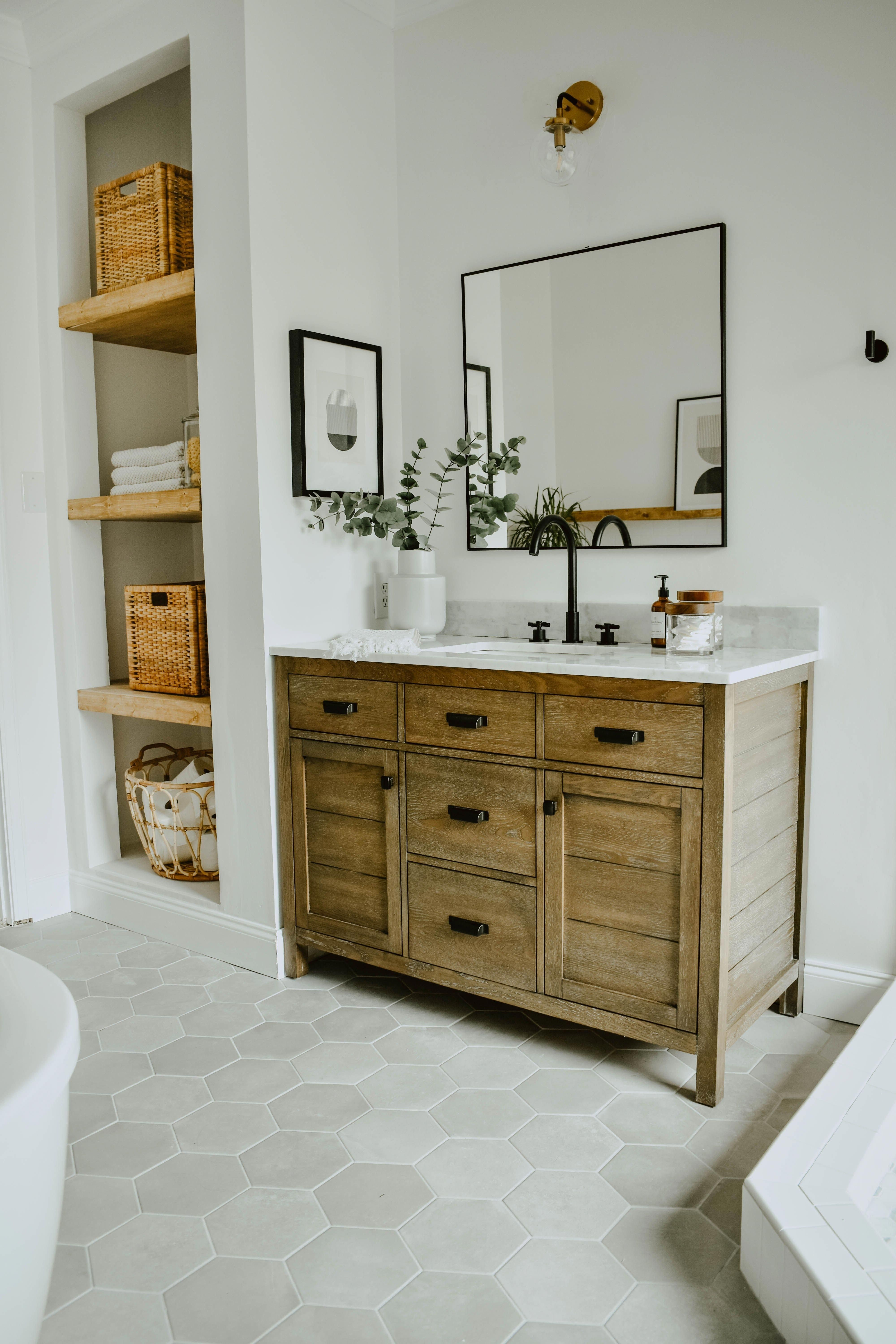 What Color Bathroom Cabinets With Gray Walls Are In Style