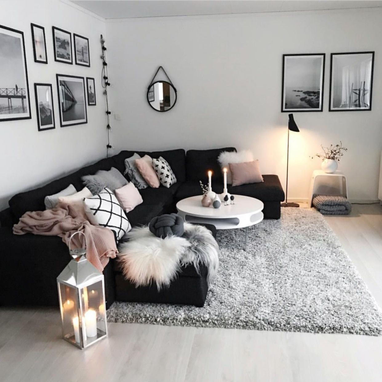 cozy and modern black white grey pink living room  Living