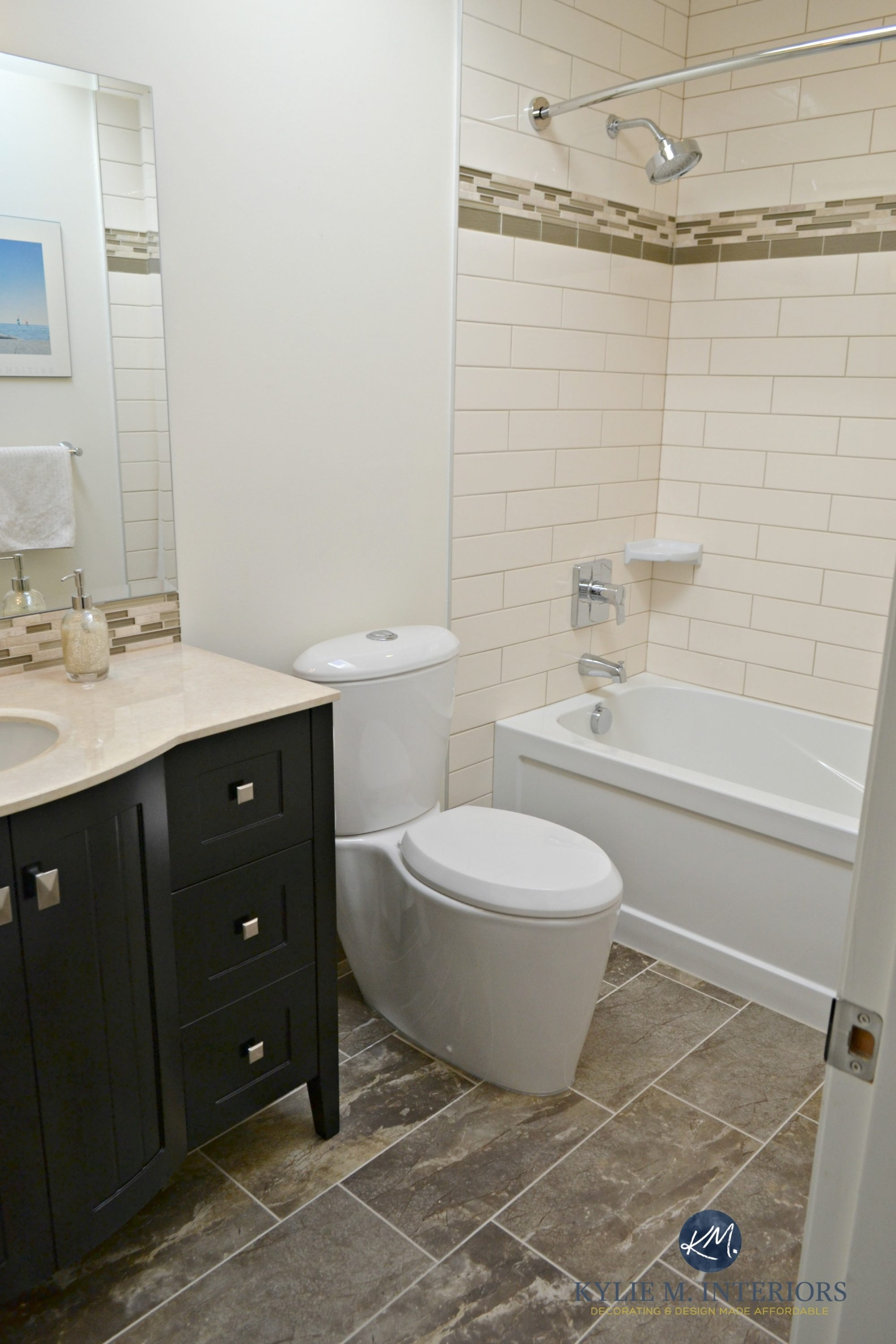 update to an almond bathroom with cream elongated subway